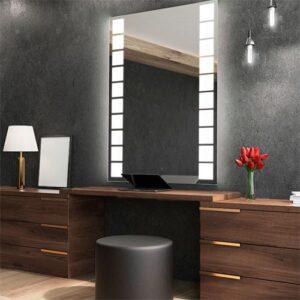 Espelho Retangular com Luz de LED Cortada Poin