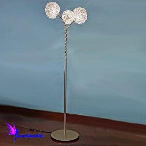 Luminária de Chão Coluna 3 Bolas de Cristal Castanha K9 14mm