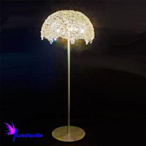 Luminária de Chão Coluna Meia Esfera de Cristal Castanha K9 14mm