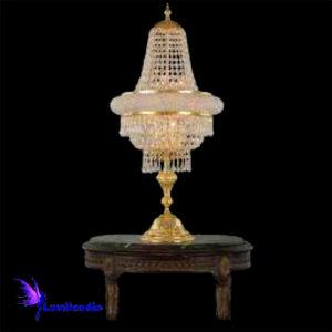 Luminária de Mesa Abajur Candeeiro Império com Cristal Asfour