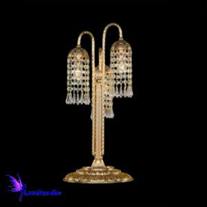 Luminária de Mesa Abajur Candeeiro Royal com Cristal Asfour - 3 Cúpulas