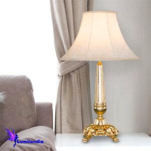 Luminária de Mesa Abajur Candeeiro Ouro com Cúpula