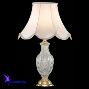 Luminária de Mesa Abajur Candeeiro Bojo Cristal Asfour com Cúpula