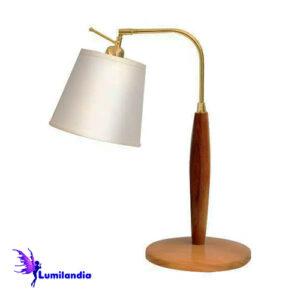 Luminária de Mesa Abajur de Madeira El Molar com Cúpula de Tecido