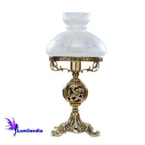 Luminária de Mesa Abajur de Bronze Lampião 1 Cúpula Colonial de Vidro 16cm