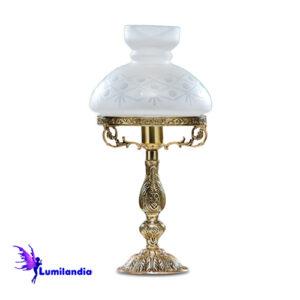 Luminária de Mesa Abajur de Bronze Lampião Gominho 1 Cúpula Colonial de Vidro 16cm
