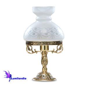 Luminária de Mesa Abajur de Bronze Lampião Pequeno 1 Cúpula Colonial de Vidro 13cm