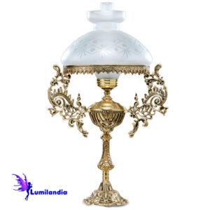 Luminária de Mesa Abajur de Bronze Lampião Flores 1 Cúpula Colonial 23cm com Manga Chaminé de Vidro
