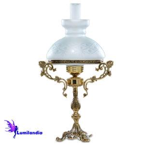 Luminária de Mesa Abajur de Bronze Rincho 1 Cúpula Colonial 23cm com Manga Chaminé de Vidro