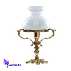Luminária de Mesa Abajur de Bronze Lampião Rincho Pequeno 1 Cúpula Colonial de Vidro 13cm