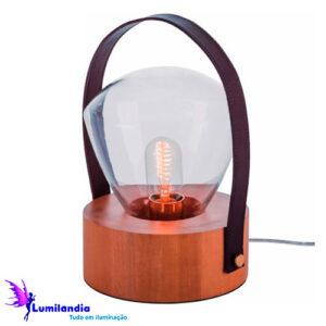 Luminária de Mesa Abajur Bumbilha Pequeno com Fita de Couro