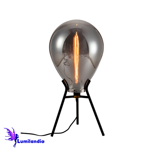 Luminária de Mesa Abajur de Vidro Fumê Alella