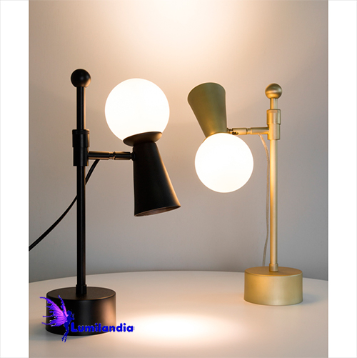 Luminária de Mesa Abajur Moderno Gava Foco com 1 Globinho de Vidro