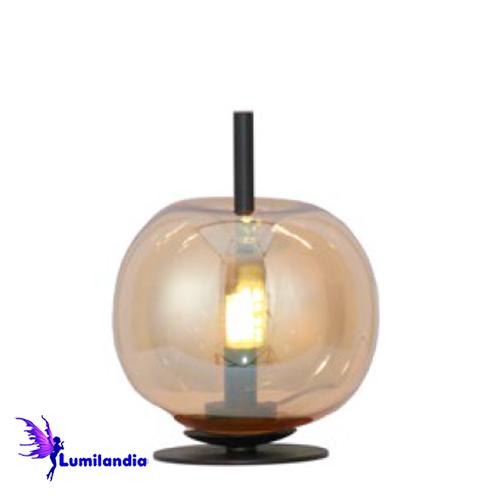 Luminária de Mesa Abajur Maca Globo de Vidro Âmbar Triplo