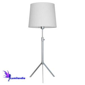 Luminária de Mesa Abajur Tripé Metálica Altura Regulável com Cúpula de Tecido