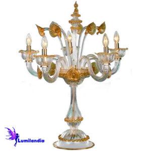Luminária de Mesa Castiçal Elétrico Murano Ancona 5 Tulipas Transparente Âmbar