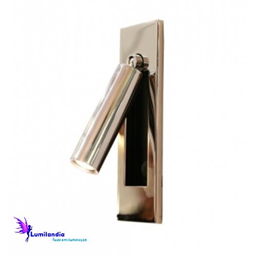 Luminária de Parede Arandela de Aço Inox com Entrada USB - LED Integrado