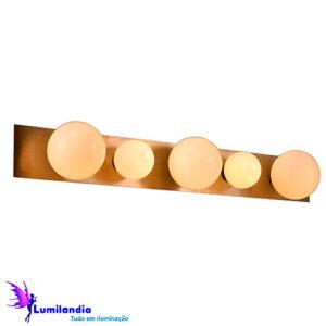 Luminária de Parede Arandela Retangular com 5 Globos de Vidro