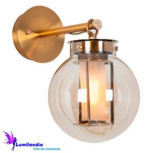 Luminária de Parede Arandela de Vidro Bretanha com Globo de Vidro