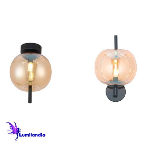 Luminária de Sobrepor Teto/Parede Maca Globo de Vidro Âmbar