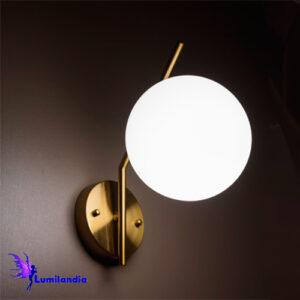 Luminária de Parede Arandela Moderna Curva Tomy com Globo