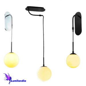 Luminária de Sobrepor Teto/Parede Moderna Doralina com Globo de Vidro
