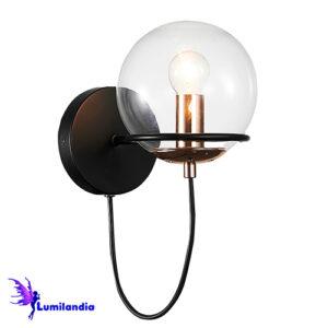 Luminária de Parede Arandela Moderna Gandesa com 1 Globo de Vidro