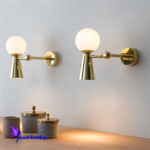 Luminária de Parede Arandela Moderna Gava Foco com 1 Globinho de Vidro