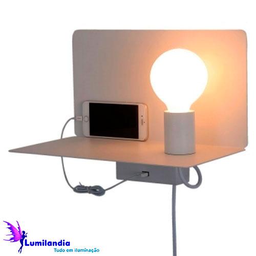 Luminária de Parede Arandela Ela com Entrada USB