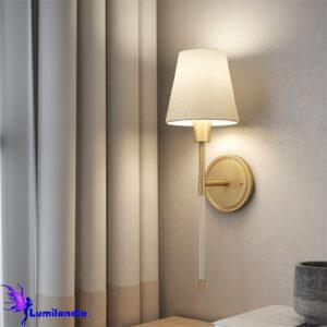 Luminária de Parede Arandela Tocheiro Volterra com Cúpula de Tecido