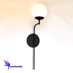 Luminária de Parede Arandela Tocheiro Tucho Curva com Globo