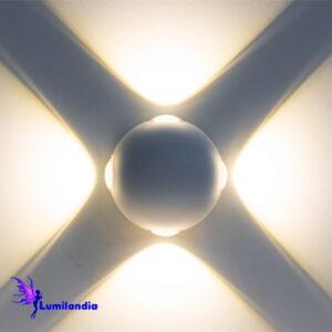 Luminária de Parede LED Moderna Redonda Augi 4 Fachos de Luz