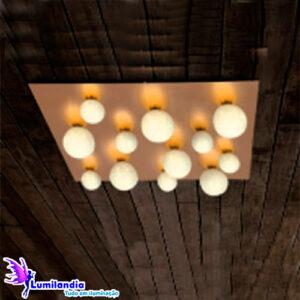 Luminária de Sobrepor Plafon Quadrado com 12 Globos de Vidro