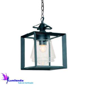 Luminária de Teto Pendente Externo Quadrado com Vidro