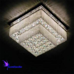 Luminária Plafon de Cristal Moderno Quadrada Art Milenar - 2 Andares