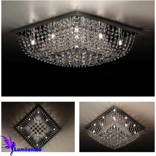 Luminária Plafon de Cristal Moderno Quadrado Central