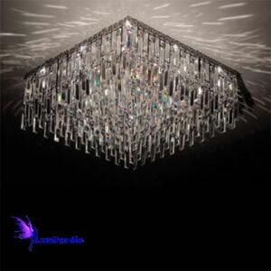 Luminária Plafon de Cristal Moderno Quadrada com Placas