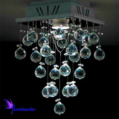 Luminária Plafon de Cristal Moderno Quadrada Tina