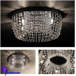 Luminária Plafon de Cristal Moderno Redondo Central