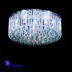 Luminária Plafon de Cristal Moderno Redondo Tubos e Bolas
