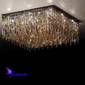 Luminária Plafon de Cristal Moderno Retangular com Placas
