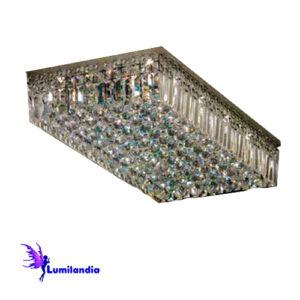 Luminária Plafon de Cristal Moderno Retangular com Placas e Bolas