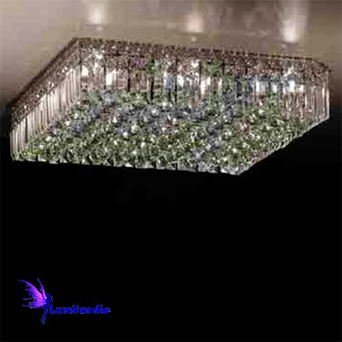 Luminária Plafon de Cristal Moderno Quadrada com Placas e Bolas