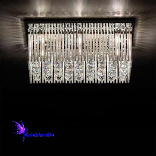 Luminária Plafon de Cristal Moderno Retangular Fortretan