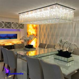 Luminária Plafon de Cristal Moderno Retangular Gran