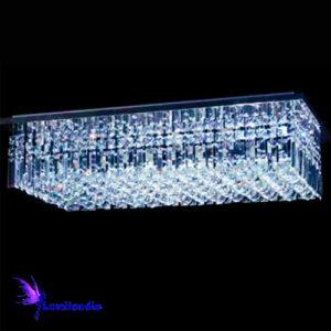 Luminária Plafon de Cristal Moderno Retangular Tubos e Bolas Slim