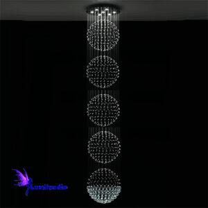 Lustre de Cristal Moderno Redondo com 5 Esferas