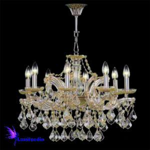 Lustre de Cristal Asfour Candelabro Maria Thereza para 8 Lâmpadas