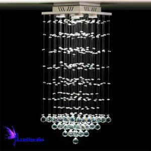 Lustre de Cristal Moderno Plafon Quadrado Pendular