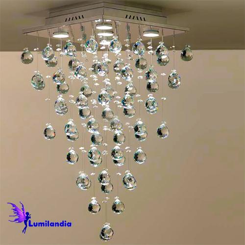 Lustre de Cristal Moderno Plafon Quadrado